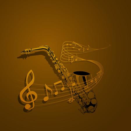 La forma de vector de saxofón y notas entrelazadas con notas musicales. Se puede utilizar como póster, publicidad o por separado. Foto de archivo - 91018641