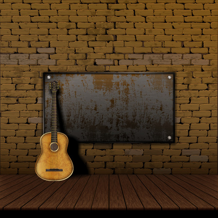 Acoustic guitar leaning in a brick wall with Iron Shield frame