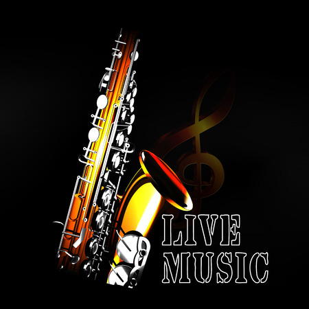 The inscription is live music on a saxophone background with a treble clef in the blackout. Can be used with any text and image with a black background. Illustration