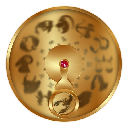 vector illustration gold disc with signs of the zodiac, Sign Cancer separately allocated. Isolated object to any suitable illustration.