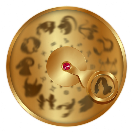 Illustration of gold disc with signs of the Virgo.