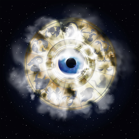 A zodiac signs in the area around the eye with a smoke cloud, drawings and symbols correspond to the name on the sign of the horoscope.