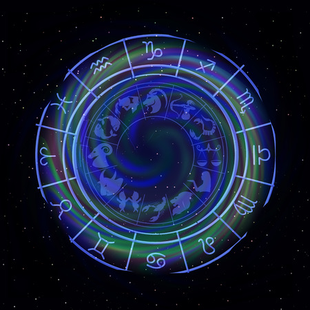 Zodiac signs around in outer space in the background of stars. 矢量图像