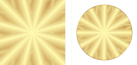 Background of gold metal, two versions of a square and a circle isolated on white background Illustration