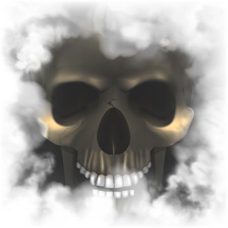 연기가 자욱한 프레임에 현실적인 두개골