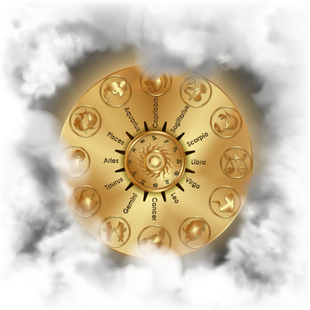 Zodiac signs gold circle in a frame of smoke. Illustration