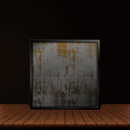 Plancher en bois et illustration de feuille de fer.
