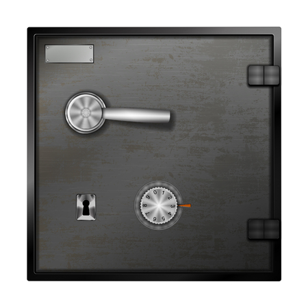 The door of the bank safe with the combination lock, keyhole and lever. Isolated object on white background.