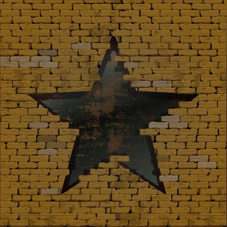 Oud bakstenen muurframe als achtergrond en een onderbreking in de vorm van een ster met een ijzeren plaat en roest. Stock Illustratie