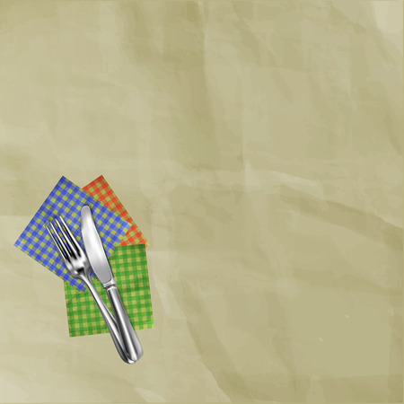 Template for restaurant menu on background of old paper with napkins.