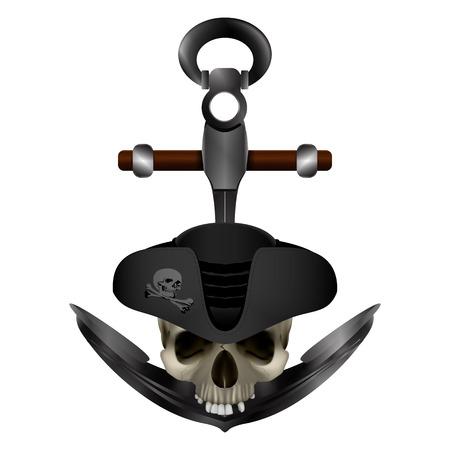 Jolly Roger Pirate anchor Çizim