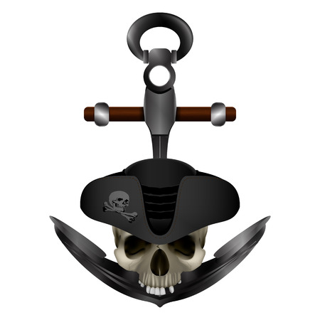 Jolly Roger Pirate anchor Illustration