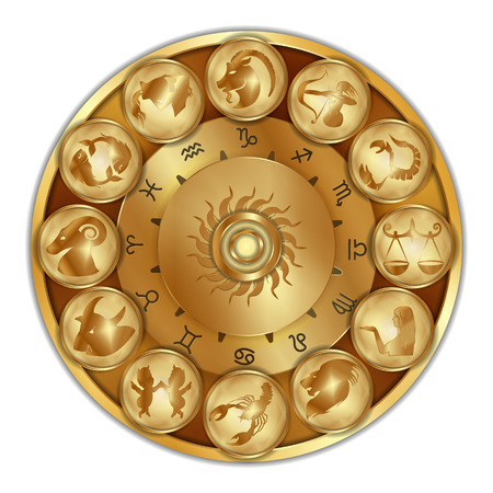 Vector illustration of zodiac signs on a gold disk in the center of the star the sun, isolated object Çizim