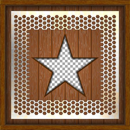 houten schild metaal geperforeerde ster