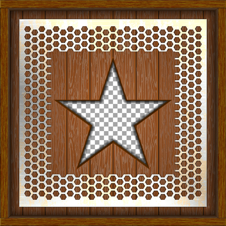 wooden shield metal perforated star