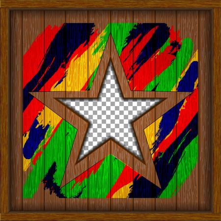 Wooden shield metal color star