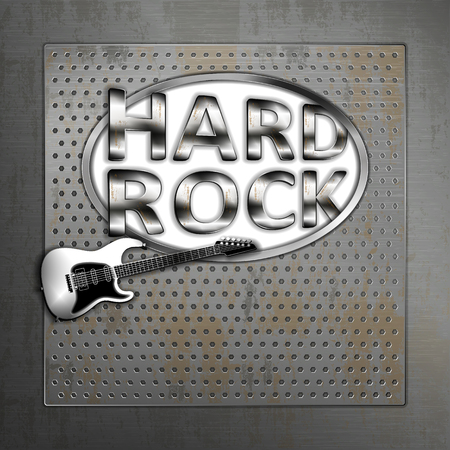 Hard rock iron metal musical background with fictional electric guitar and isolated transparent cutout.