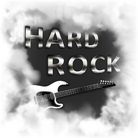 Hard rock in the smoke musical background with a fictional electric guitar in the smoke on a white background, can be used with any white background. 向量圖像