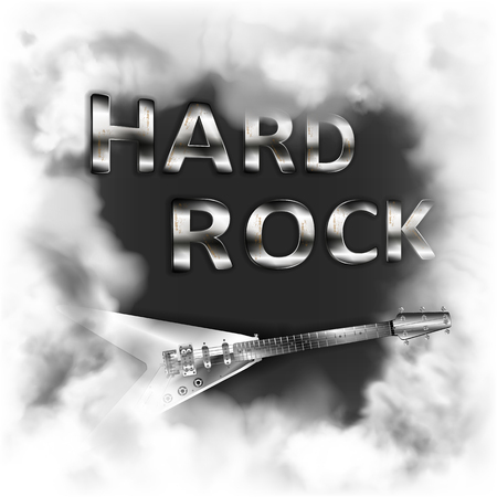 Hard rock in the smoke musical background with a fictional electric guitar in the smoke on a white background, can be used with any white background. Illustration
