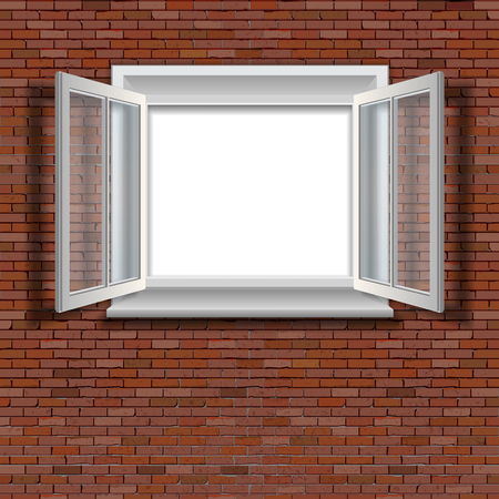 a window on a brick wall Vector illustration.