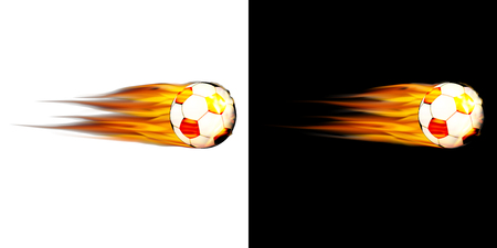 Realistic soccer ball on fire icon set Illustration