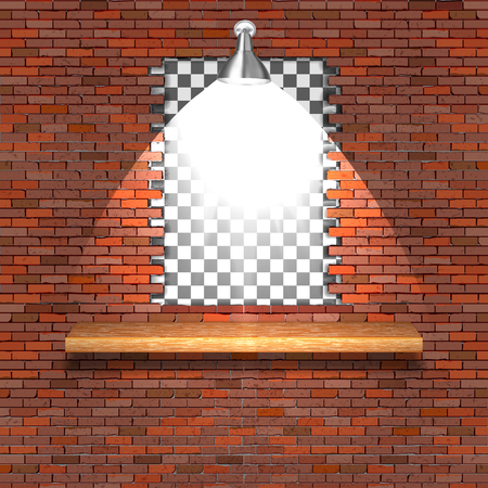 A break in a brick wall with a lighting lamp and a wooden shelf. Ilustrace