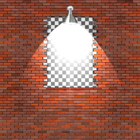 A break in a brick wall with a lighting lamp.