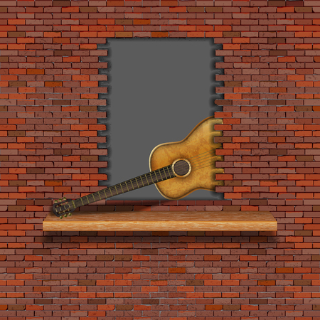 Acoustic guitar in the failure of the old brick wall. There is an empty space for placing your text or image.