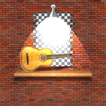 Pared de ladrillo de guitarra acústica