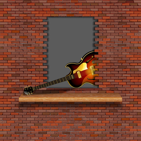 Jazz electric guitar in the failure of the old brick wall. There is an empty space for placing your text or image.