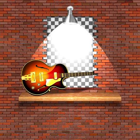 Guitarra eléctrica de jazz en el fracaso de la vieja pared de ladrillo. Hay un espacio vacío para colocar su texto o imagen.