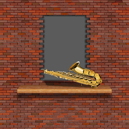 Saxophone, jazz in the failure of the old brick wall. There is an empty space for placing your text or image.