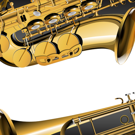 A trumpet and saxophone close-up, a musical background frame. Pstoe place to place your text or image.