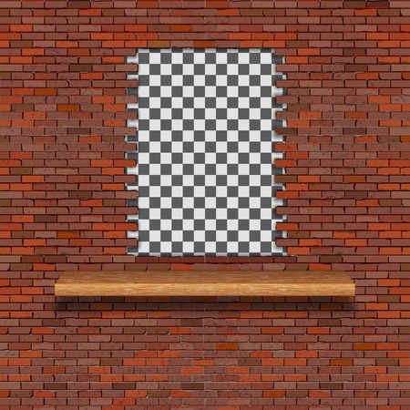 A brick wall with a hole break and a wooden shelf. There is an empty space for placing your text or image.