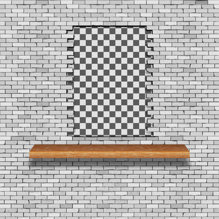 A white brick wall with a hole break and a wooden shelf. There is an empty space for placing your text or image.