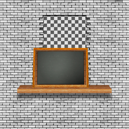 A white brick wall with a hole break and a wooden shelf with a black board. There is an empty space for placing your text or image. Ilustrace