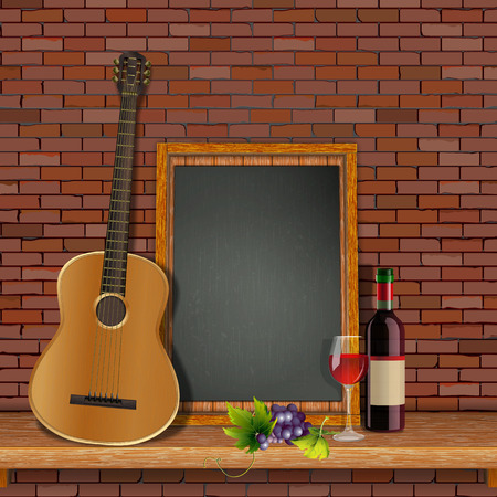 Acoustic guitar on the shelf with Çizim