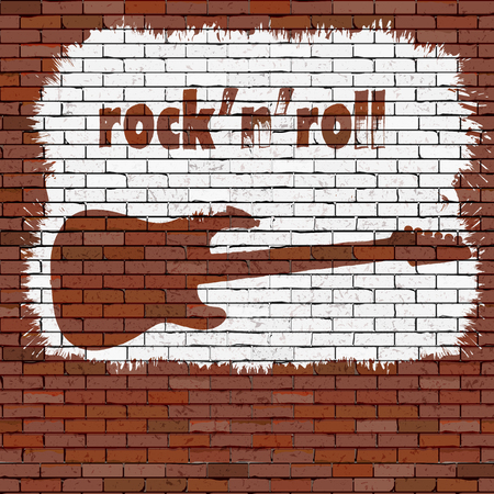 Music background rock and roll stencil on a brick wall.