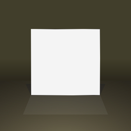 Empty white frame with shadow on dark surround background.