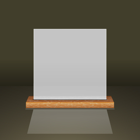 White translucent frame on a wooden shelf