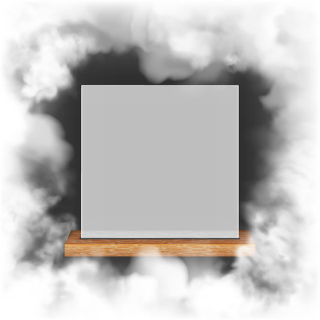 White translucent frame on a wooden shelf in the smoke Çizim
