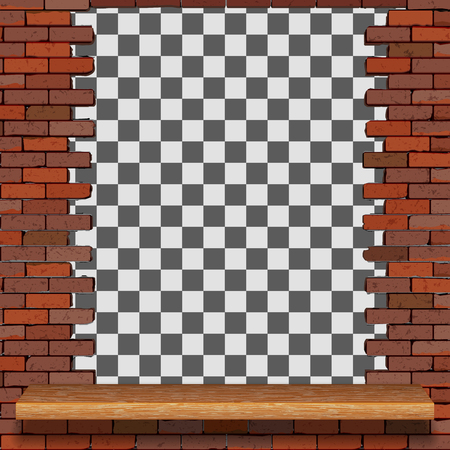 Background image frame from an old brick wall with a wooden shelf.