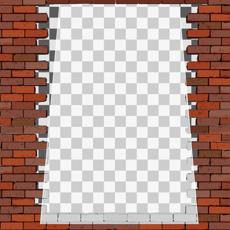 Background image of transparent white frame from an old brick wall.