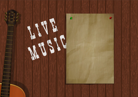 Musical background live music with wooden boards, acoustic guitar and a piece of paper for an inscription or image. Çizim