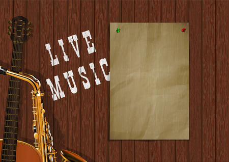 Musical background live music with wooden boards, acoustic guitar, saxophone and a piece of paper for an inscription or image. Ilustrace