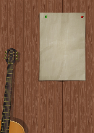 Music background with wooden planks, acoustic guitar and a piece of paper for an inscription or image. Reklamní fotografie - 127169211