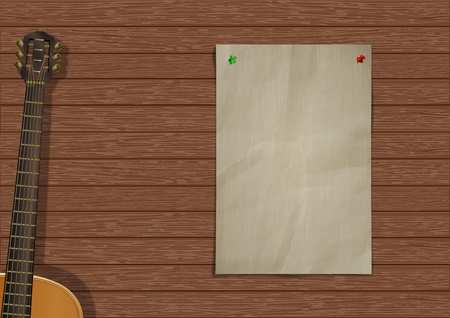 Music background with wooden planks, acoustic guitar and a piece of paper for an inscription or image. Çizim