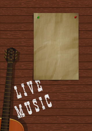 Musical background live music with wooden boards, acoustic guitar and a piece of paper for an inscription or image. Reklamní fotografie - 127169212