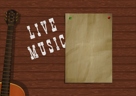 Musical background live music with wooden boards, acoustic guitar and a piece of paper for an inscription or image. Reklamní fotografie - 127169213
