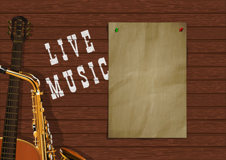 Musical background live music with wooden boards, acoustic guitar, saxophone and a piece of paper for an inscription or image. Illustration